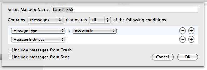 Screen capture of configuration window for a 'Latest RSS' Smart Mailbox